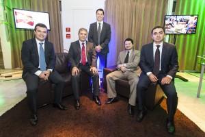 Os sócios da Teltec Solutions: Diego Brites Ramos, Glauco Brites Ramos, Rafael Araújo, Daniel Heller e Alexandre Moraes / Foto: Marcos Campos/Divulgação
