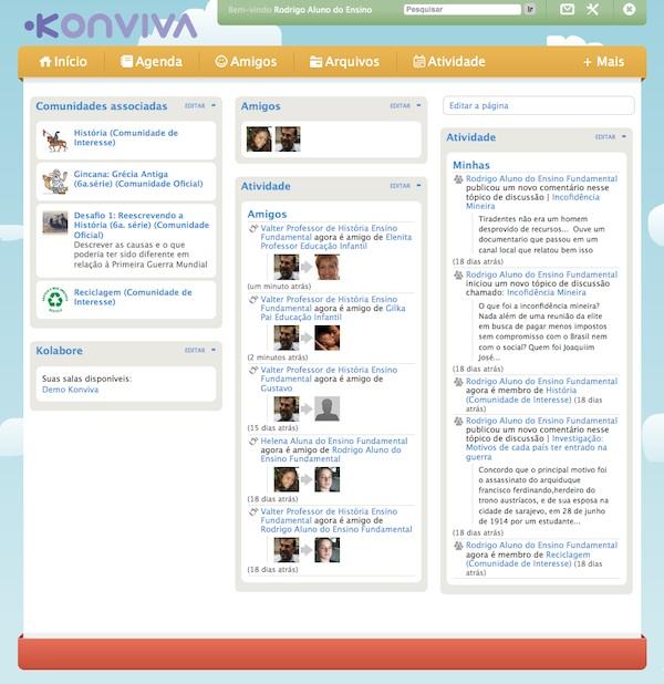 Alunos, pais e professores em rede social para instituições de ensino