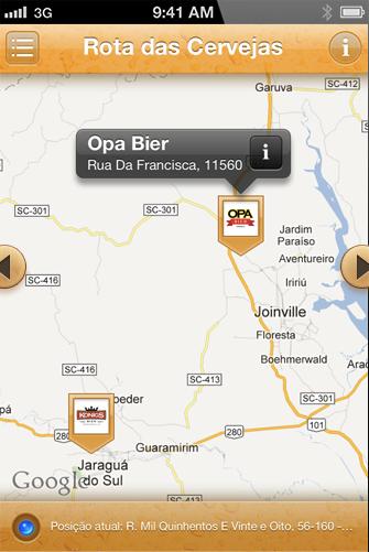 Rota das cervejas artesanais de Blumenau em aplicativo para iPhone